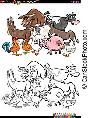 farm animal characters coloring book - Cartoon Illustration...