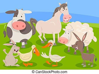 farm animal characters group cartoon