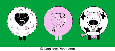 Farm animal clip-art including a sheep, pig and a cow.