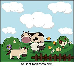 Farm animal : cow. donkey, chiken and sheep