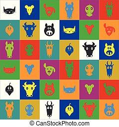 farm animal set flat color icons heads