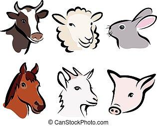 farm animal set of symbols