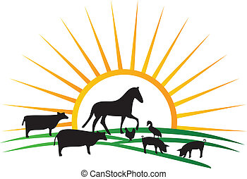 farm animal silhouettes sun and field vector