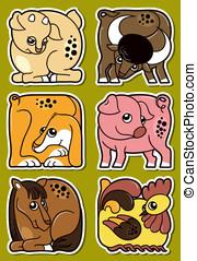Farm animal stickers set