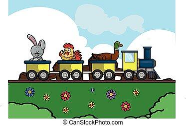 farm animal traveling train at Park