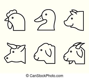 Farm animal vector illustration, line style editable stroke icon