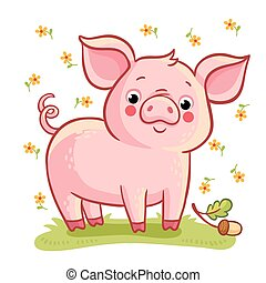 Farm animal. - Vector illustration of pig and acorn on a...