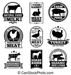 Farm animal vintage meat, butcher shop vector logos, badges,...