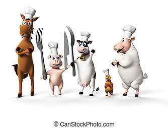 Farm animals - 3d rendered illustration of farm animals