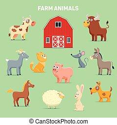 Farm animals and barn
