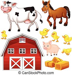 Farm animals and barn