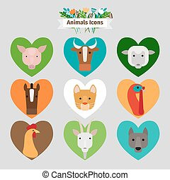 Farm animals and pets avatars