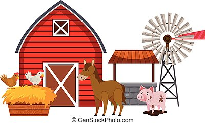 Farm animals and red barn