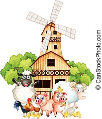 Farm animals and windmill