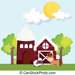 farm animals barn house horse and goat trees grass cartoon