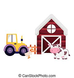 farm animals barn tractor cow and goose cartoon