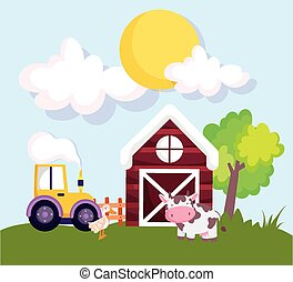 farm animals barn tractor cow and goose grass cartoon