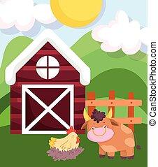 farm animals bull hen in nest wooden fence barn cartoon