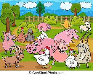 farm animals cartoon characters group