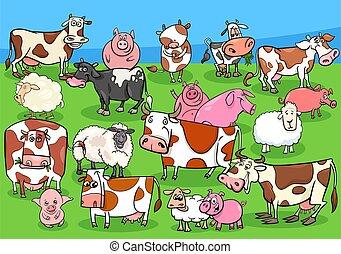 farm animals cartoon characters group on meadow