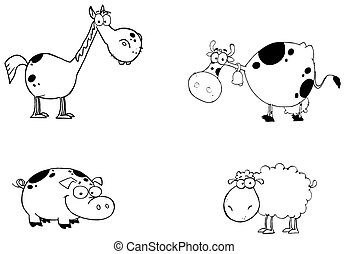 Digital Collage Of A Black And White Horse, Cow, Pig And Sheep