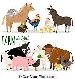 Farm animals cartoon characters