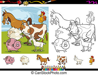 farm animals cartoon coloring page set - Cartoon...