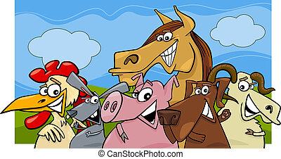 farm animals cartoon illustration