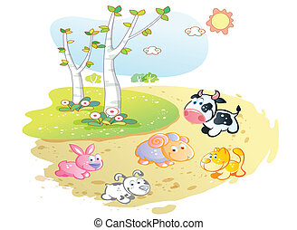 farm animals cartoon posing