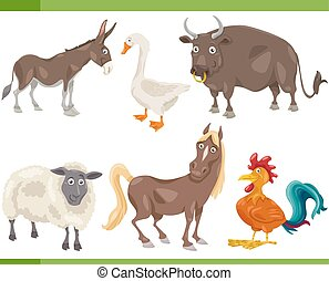 farm animals cartoon set illustration - Cartoon Illustration...
