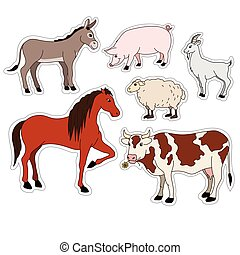 farm animals cartoon set vector stickers with domestic livestock, pet