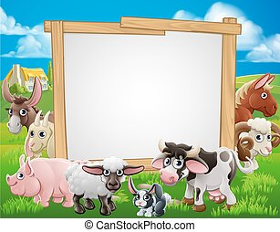 Farm Animals Cartoon Sign - Farm cartoon sign with cute...