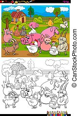 farm animals characters group color book page