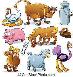 cartoon illustration of farm animal collection