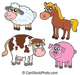 Farm animals collection - isolated illustration.