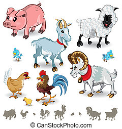 Farm Animals Collection Set 01 - An Illustration of Farm...
