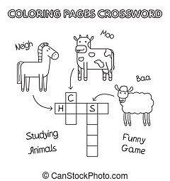 Farm Animals Coloring Book Crossword