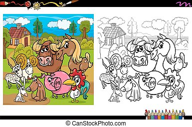 Coloring book with farm animals 3 - vector illustration. vectors ...
