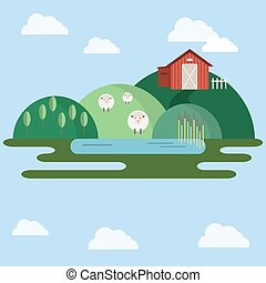 Farm animals Countryside View illustration