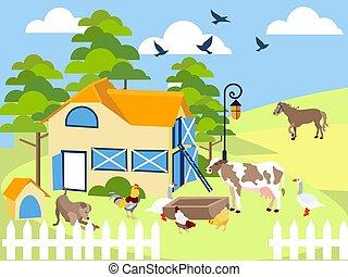 Farm animals cow, pig, bird, building, horse, agronomy. In minimalist style. Cartoon flat Vector