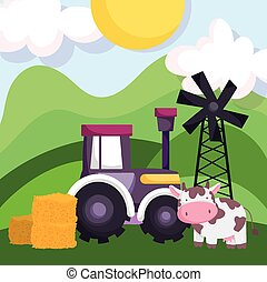 farm animals cow tractor stack of hay windmill cartoon