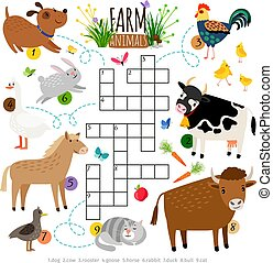 Farm animals crossword. Kids crossing word search puzzle...