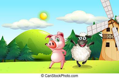 Farm animals dancing near the windmill - Illustration of the...