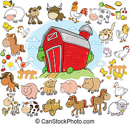 Farm Animals Design Vector set - Farm Animals Design ...