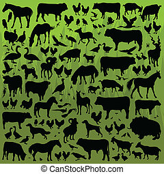 Farm animals detailed silhouettes illustration collection...