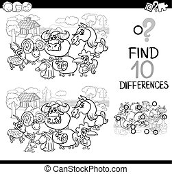 farm animals difference game - Black and White Cartoon...