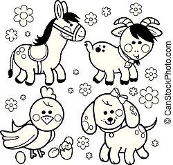 Farm animals: Donkey, dog, goat and chicken