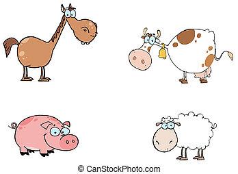 Farm Animals Cartoon Characters Set