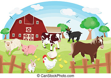 Farm animals - A vector illustration of different farm...