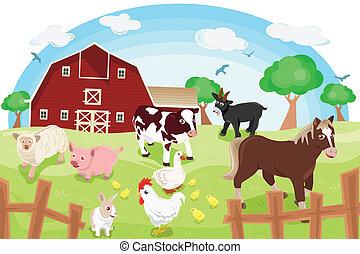 Farm animals - A vector illustration of different farm...